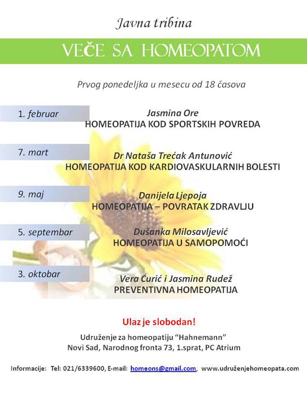 Javna tribina - Veče sa homeopatom @ Нови Сад | Војводина | Србија