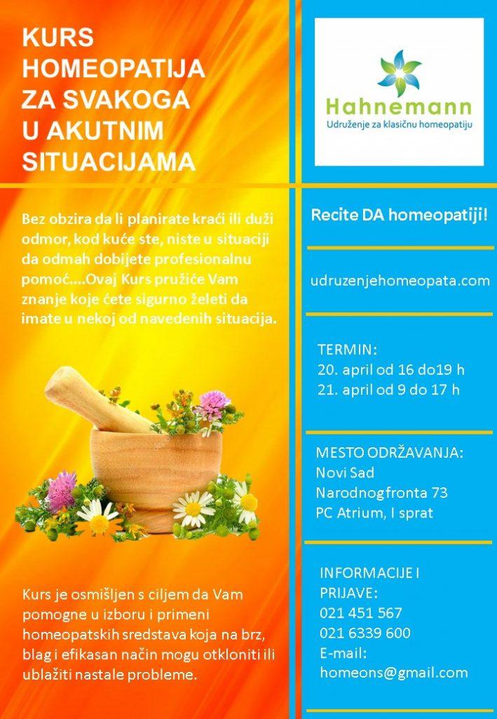 KURS - HOMEOPATIJA I PRVA POMOĆ @ PC Atrium | Нови Сад | Војводина | Србија