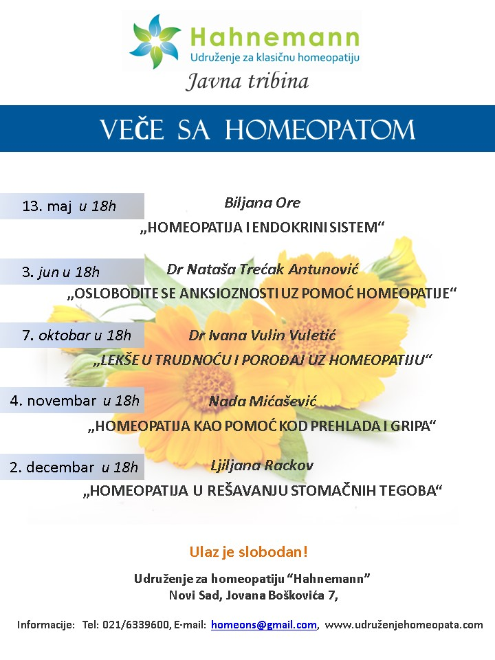 """Javna tribina - """"OSLOBODITE SE ANKSIOZNOSTI UZ POMOĆ HOMEOPATIJE"""" @ Udruženje za homeopatiju """"Hahnemann"""""""