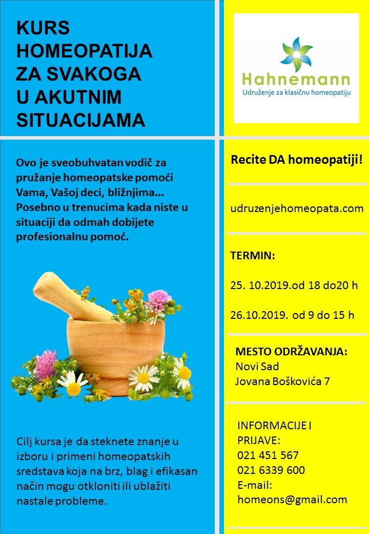 KURS HOMEOPATIJA ZA SVAKOGA U AKUTNIM SITUACIJAMA @ Novi Sad