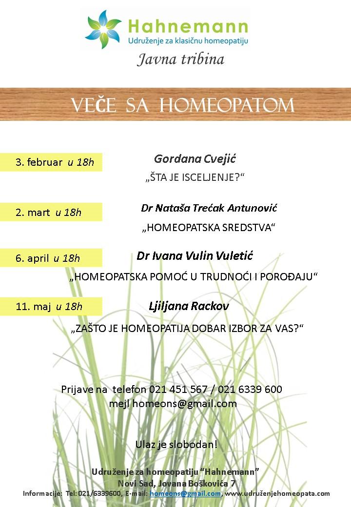 "VEČE SA HOMEOPATOM – ""HOMEOPATSKA SREDSTVA"" @ Udruženje za homeopatiju ""Hahnemann"""